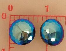 2 vintage faceted Czech glass buttons iridescent blue purple jet AB 17.5mm #380