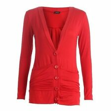 Ladies Button Up Cardigan Womens Plus Size Boyfriend Pocket Rushed Long Sleeve