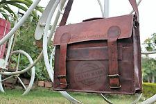 Men's genuine leather messenger laptop briefcase bag 17 inch vintage