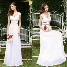 UK Long White Prom Bead Chiffon Evening Formal Party Bridesmaid Maxi Dress 08697