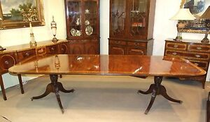 Twin Pedestal Flame Mahogany Dining Table Twin Leaf