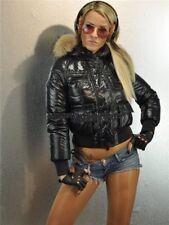 MONCLER WOMEN JACKET PARKA GEORGIA COAT SIZE 2 DOWN PUFFER AUTHENTIC GLOSS BLACK