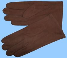 NEW MENS size 8 or Small BROWN KID SUEDE LEATHER UNLINED GLOVES shade10554