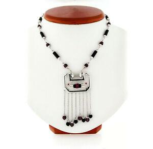 Fancy 18k Gold Black Onyx & Bead Tourmaline Dangle Tassel Chandelier Necklace