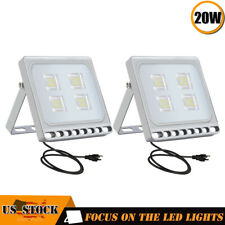 2 x20W LED Flood Light Garden Path Outdoor Security Lamp US Plug 110V Cool White