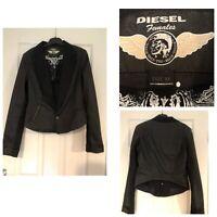 Diesel Black Denim Cropped Jacket Womens Zie XL (471)