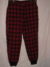 """Vintage LL BEAN WOOL HUNTING PANTS Red Plaid with Suspender Buttons 35"""" x 29"""" L"""