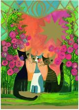 NEW! Heye Roses by Rosina Wachtmeister 2000 piece gold foil embossed cat jigsaw