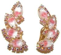 D&E Juliana Pink & White Givre Art Glass & Aurora Borealis Rhinestone Earrings