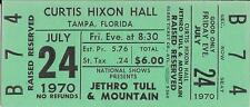 Original Jethro Tull and Mountain Unused Concert Ticket 1970