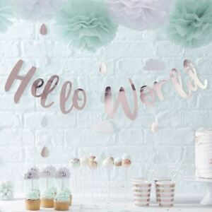 Rose Gold Baby Shower Bunting | Hello World Banner Decoration 1.5m