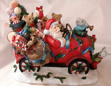 Santa Driving Christmas Decorated Model T Filled W/ Animals and Toys Music Box