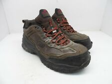 SKECHERS WORK Men's Composite Toe Composite Plate Lace-Up Work Shoes Brown 10.5M