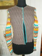 Pull gilet 3 boutons coton beige maille ajourée OILILY M 38/40 manches zig zag