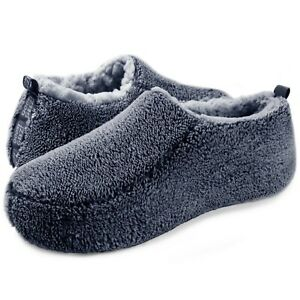 Men's Slippers Sherpa Cozy Fuzzy Indoor Anti-Skid House Shoes 11-12 (Navy)