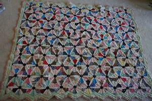 Vintage Antique Quilt Flour Sacks 80 X 62 Worn Edges and Spots