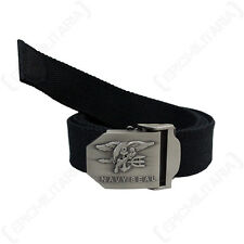 US NAVY SEAL BELT - BLACK American Military Canvas Buckle Combat Adjustable New