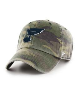 St. Louis Blues 47 Brand Clean Up Camo Black Logo Adjustable Cotton Hat Cap NHL