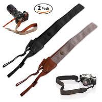 2x Neck Shoulder Vintage Soft Belt Strap Camera Straps For DSLR Canon Nikon Sony