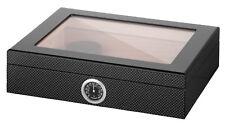 Humidor Angelo Carbon Design schwarz Kristallglas 25 Zigarren Polymerebefeuchter