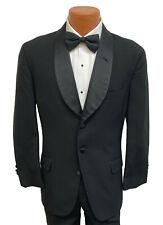 Men's Black Chaps Ralph Lauren Tuxedo Jacket 100% Wool Satin Shawl Lapels 42S
