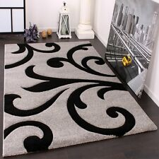 """Silver Grey Rug for Living Room Hand Carved Black Floral Pattern Mat Small Large 120x170cm (4'x5'6"""")"""