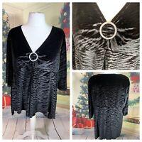 Ladies Black Top Size 22/24 Velvet Stretchy Jewelled Embellished 3/4 Sleeve