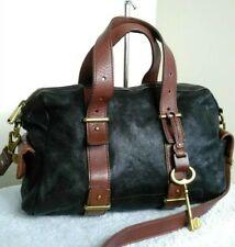 Fossil Vintage Leather Black Brown Bag Grab Shoulder Cross Body Handbag N30