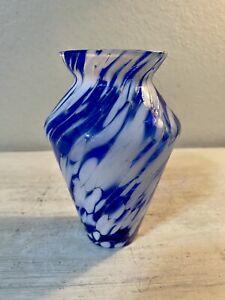 """Vintage Studio Art Glass Hand Blown Mottled Vase Blue White 5.5"""""""