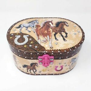 Hot Focus Dashing Horse Oval Shaped Musical Jewelry Box New