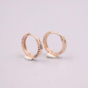 Real 18K Rose Gold Woman Luck Stripe-cut Hoop Earrings 1.4-1.5g 12x2mm