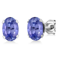 1.00 Ct AAA Oval 6X4mm Tanzanite Solid 14K White Gold Stud Earrings