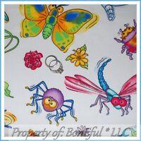 BonEful Fabric FQ Cotton Quilt Bug Rainbow Bright L Flower Butterfly Caterpillar