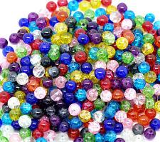 200 Assorted Crackle Glass Beads 6mm Bracelet Wine Charm Necklace Cards (e)uk
