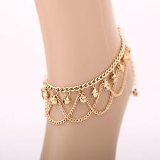 Women Bell Chain Anklet Bracelet Barefoot Beach Tassel Foot Boho Ankle Sandal