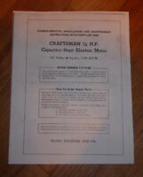 SEARS CRAFTSMAN 1/2 HP CAPACITOR START MOTOR OWNERS MANUAL 115.19180 19180