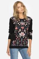 💕 JOHNNY WAS Embroidered NINDI LONG SLEEVE THERMAL Pullover Tunic JWLA M 💕