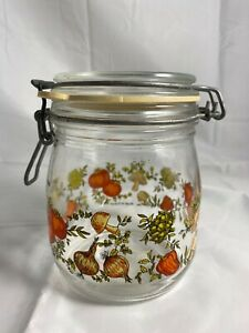 Vintage Mushroom Niveau De Remplissage Glass Jar Onion Pepper Veggies France