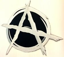 """Anarchy White 11"""" Large Government Motorcycle MC Biker Back Patch HEY-0161"""