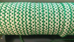"""Vintage 1/4"""" French Trim Scallop Edges Cotton Green White 1yd Made in France"""
