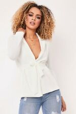 NEW Womens Ladies  Belted Long Sleeve Blazer Jacket Coat Top UK 8-26