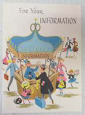 Vintage Greeting Card For Your Information Secret Pal Train Station Railroad