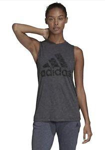 NWT Adidas Womens Winner Athletic Fit  Tank Top Black Melange Size XS