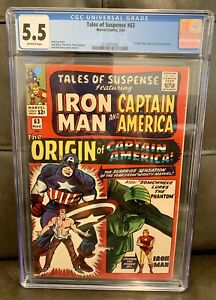TALES OF SUSPENSE #63 CGC 5.5 ORIGIN CAPTAIN AMERICA, Stan Lee Story 1965 Silver