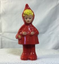 VTG Little Red Riding Hood Red & Yellow Hard Plastic Baby Toy Rattle 1950s
