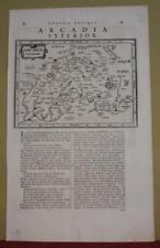 ARCADIA GREECE 1661 JOHANN LAUREMBERG ANTIQUE ORIGINAL COPPER ENGRAVED MAP