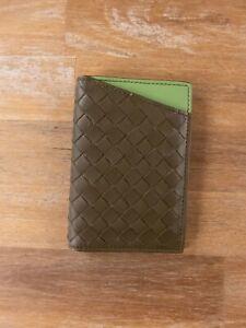 BOTTEGA VENETA green intrecciato leather folding card holder case authentic NWT