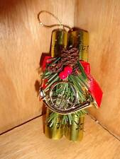 Vintage Music Scroll Paper Notes with French Horn Pinecones Christmas Tree Ornam