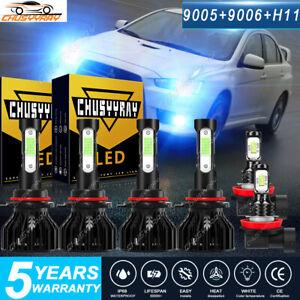 For Mitsubishi Lancer 2008-2015 6x Combo LED Headlight Fog Light Bulbs Kit 8000k