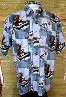 REEL LEGENDS Men Hawaiian ALOHA shirt pit to pit 24 L Christmas Santa fishing